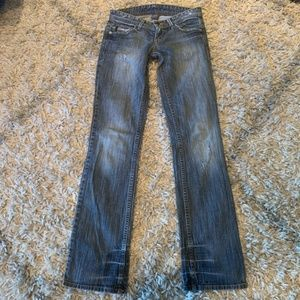 Armani Exchange distressed straight skinny jeans 0